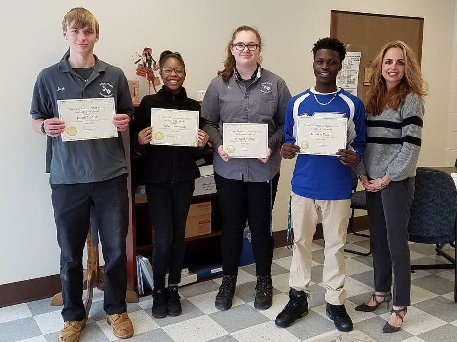 Vinal Technical High School February students of the month are, from left, Jacob Beatty, Leijah Lemoniase, Abigail Young and Kwaku Panti. Photo: Contributed Photo