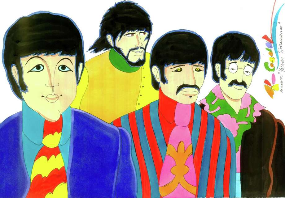 "A Beatles drawing by ""Yellow Submarine"" animator Ron Campbell"