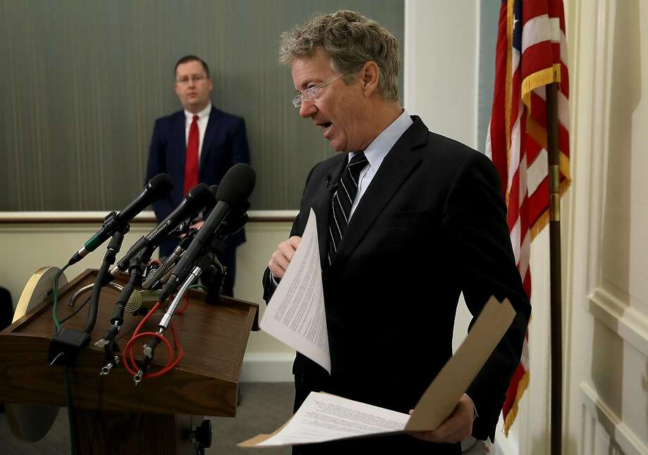 WASHINGTON, DC - MARCH 14:  Sen. Rand Paul (R-KY) speaks during a press conference at the U.S. Capitol on March 14, 2018 in Washington, DC. During the press conference, Paul announced his opposition to the nomination of CIA Director Mike Pompeo as U.S. President Donald Trump's new Secretary of State, and also his opposition to Gina Haspel as the new Director of the CIA.  (Photo by Win McNamee/Getty Images) Photo: Win McNamee, Getty Images