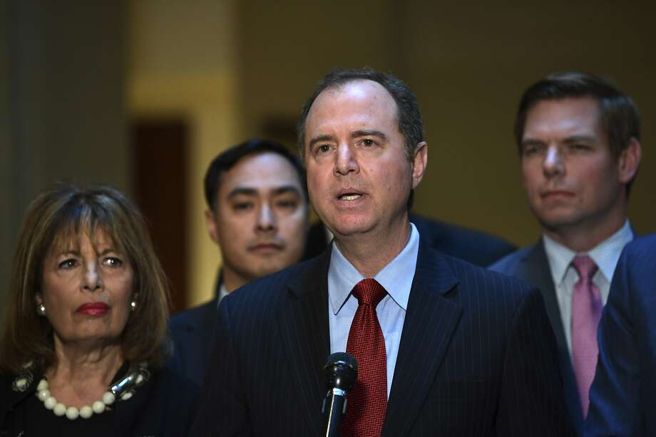 Rep. Adam Schiff (center) said Democrats on the House Intelligence Committee would continue the investigation. Photo: Susan Walsh, Associated Press