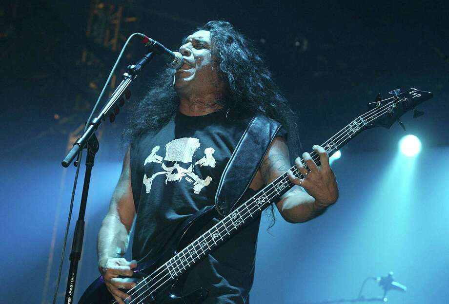 "Slayer perform on stage at day two of the ""Download Festival"" at Donington Park on June 6, 2004 in Leicestershire, England. The rock festival features over 50 acts on three stages over two days. (Photo by Jo Hale/Getty Images) l Photo: Jo Hale, Stringer / 2004 Getty Images"