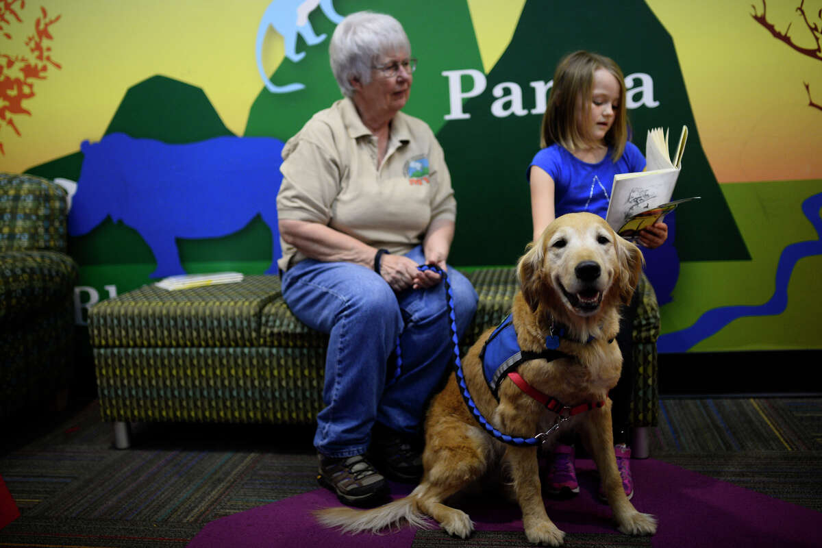 Ava Dallas, a student at Midland Christian, reads to a therapy dog named Pippin, handled by Josie Gans (left) March 13, 2016, at Midland County Public Library Centennial Branch. James Durbin/Reporter-Telegram