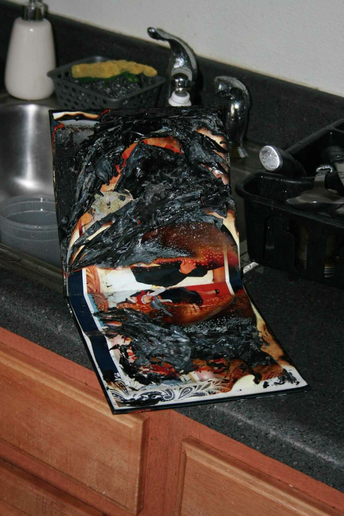 The burned wedding album lying next to a sink in a Perry Street apartment that set off the sprinkler system in the apartment of a recently divorced woman as well as three neighboring units.