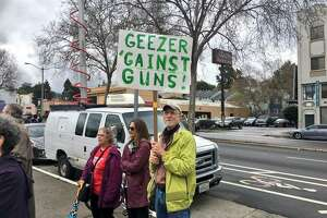 Brad Newsham, who lives near Oakland Technical High School, came to Wednesday's walkout to lend his support for the rally's cause of gun control.