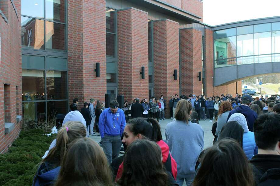 Darien High School students participate in National Walkout Day March 14, 2018, in Darien, Conn. Photo: Contributed/ Andrew Lester / Contributed Photo / Darien News