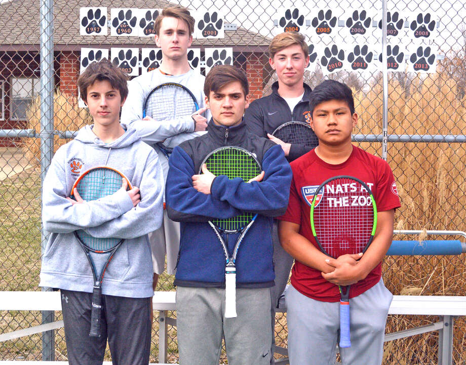 Returning varsity players for the Edwardsville boys' tennis team include, front row left to right, Drake Schreiber, Seth Lipe and Zach Trimpe. In the back row, from left to right, are Alex Gray and Logan Pursell.