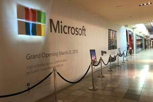 The Galleria Microsoft store will move to this location, one door down from the Apple Store, on March 23, 2018. The storefront of the Apple store can be seen in the far right of the photo