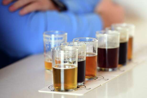 A flight of craft beers at the Aspetuck Brew Lab, a micro brewery in Bridgeport.