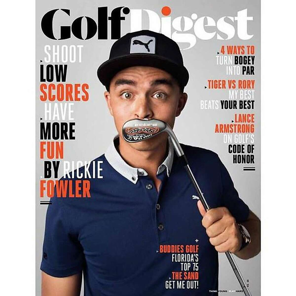 """Brett Viboch once worked at Cobra Golf, where he stamped this """"mustache wedge"""" held by PGA Tour pro Rickie Fowler on the cover of Golf Digest."""