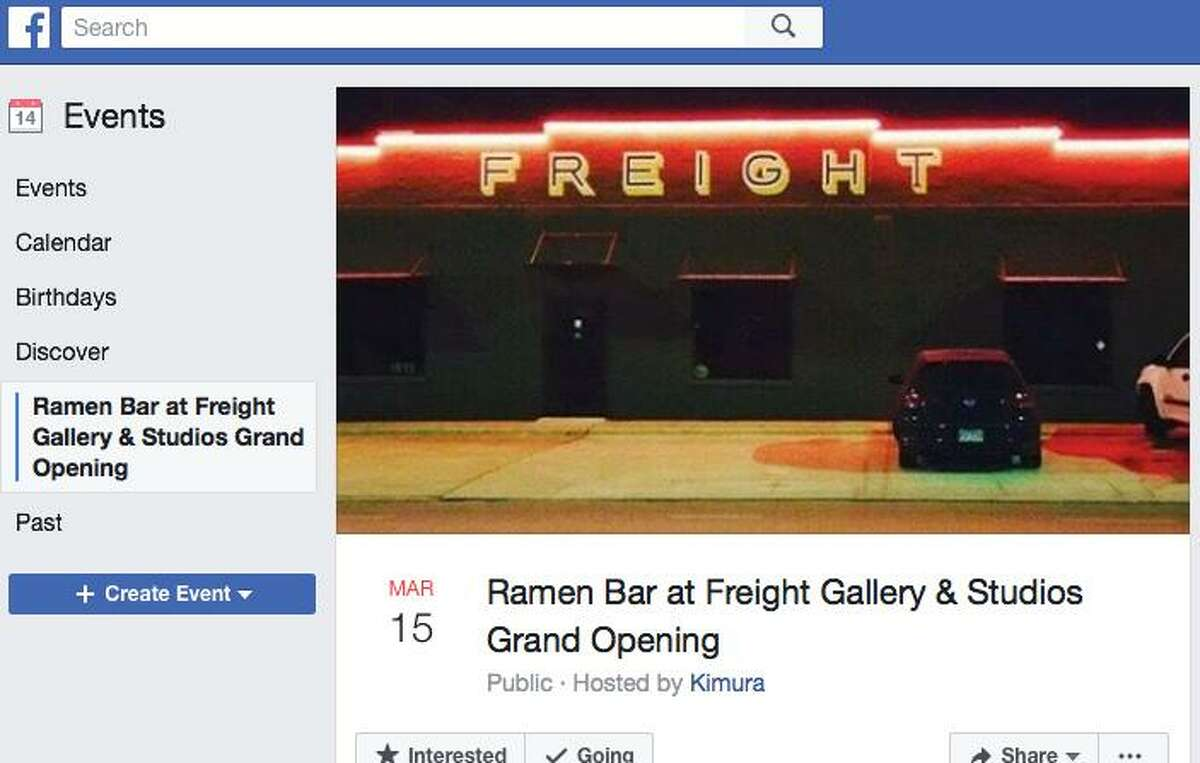 The Facebook invite for the launch of the regular Thursday-through-Saturday Ramen Bar spinoff of Kimura at Freight Gallery & Studios in Southtown