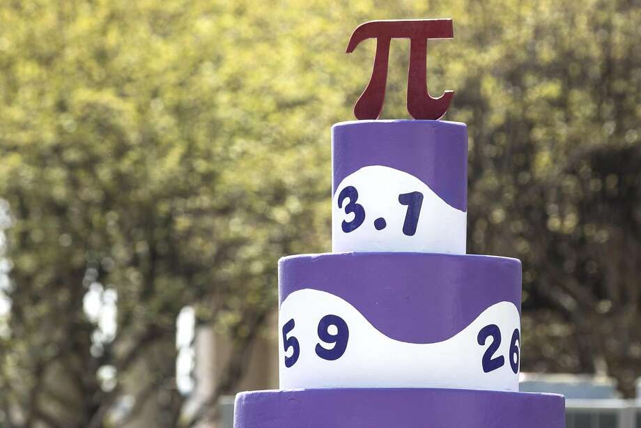 A Pi cake is shown during the 9th Annual Shaving Cream Pi(e) Fight at the Children's Museum of Houston on Wednesday, March 14, 2018, in Houston. There were 80 particpants engaging in the Pi(e0 fight celebrating the infinite, non-repeating number 3.14... ( Brett Coomer / Houston Chronicle ) Photo: Brett Coomer, Houston Chronicle