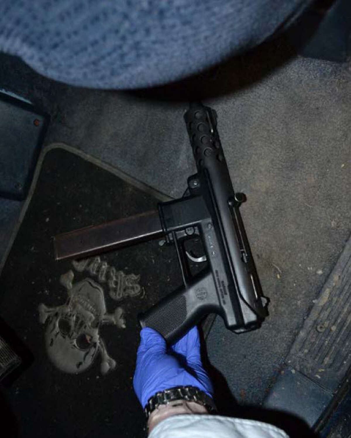 Paul Esparza, 24, was sentenced Tuesday to a four-year term in federal prison for gun crimes. Police found this pistol inside his car during a March 2017 encounter.