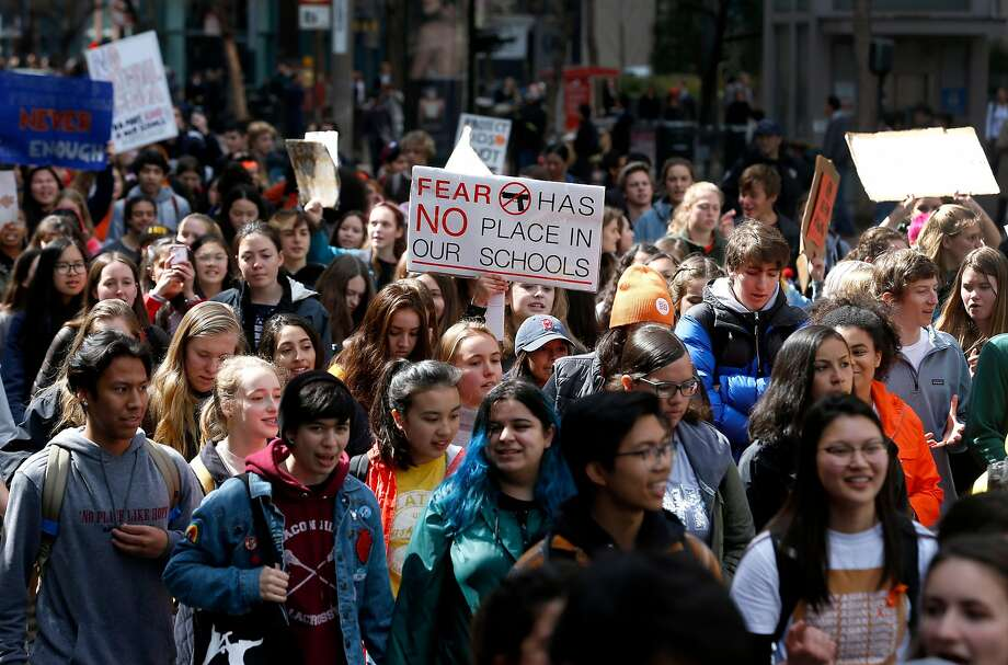 Students who walked out of classes march on Market Street to call for strict gun control in San Francisco, Calif. on Wednesday, March 14, 2018. The walkout was part of a nationwide response by students to protest against gun violence one month after the deadly school shooting in Parkland, Fla. Photo: Paul Chinn, The Chronicle