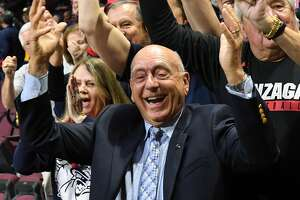 LAS VEGAS, NV - MARCH 05:  Sportscaster Dick Vitale poses with Gonzaga Bulldogs fans before the team's semifinal game of the West Coast Conference basketball tournament against the San Francisco Dons at the Orleans Arena on March 5, 2018 in Las Vegas, Nevada. The Bulldogs won 88-60.  (Photo by Ethan Miller/Getty Images)