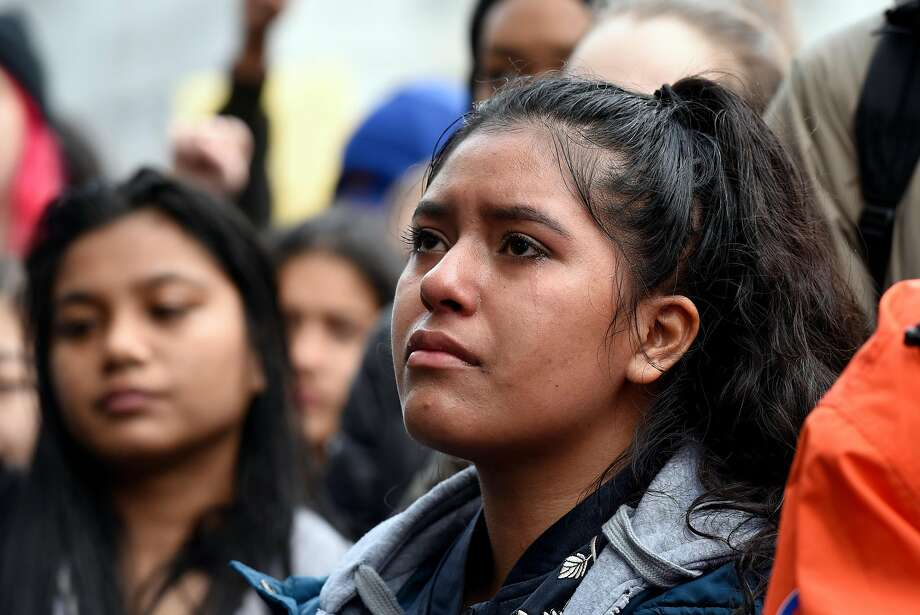 Tears roll down the cheek of Rut Hernandez of Lincoln High School as she joins students that walked out from over 20 different Bay Area schools and gathered in front City Hall in San Francisco, on Wednesday March 14, 2018. Students across the country participate in a national walkout to oppose gun violence. Photo: Michael Short, Special To The Chronicle