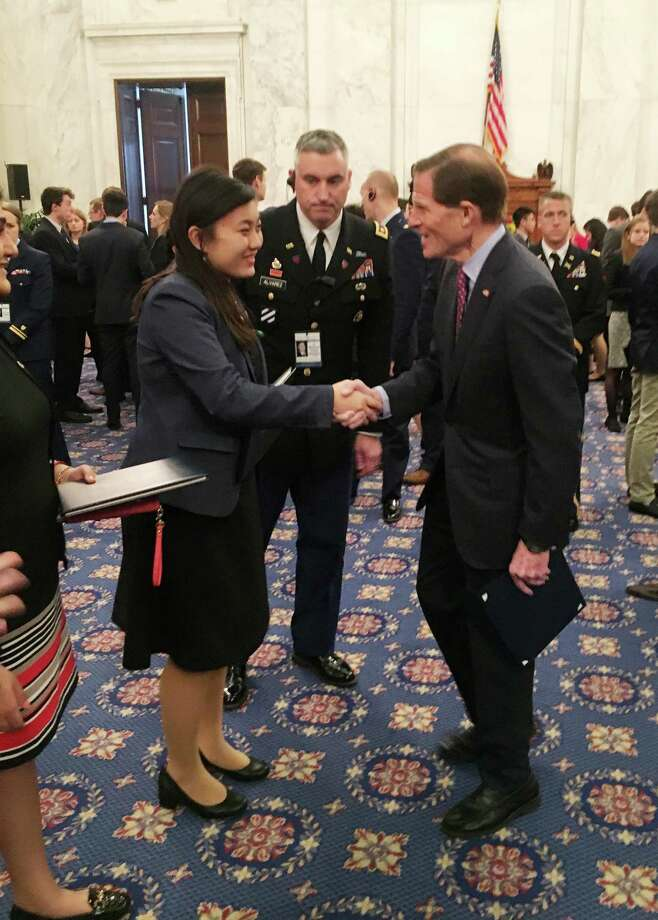Hearst Senate Youth Program participant Annie Wang, a senior at Cheshire High School, greets Sen. Richard Blumenthal at Capitol Hill reception on March 7. Photo: Dan Freedman / Hearst Connecticut Media / Connecticut Post