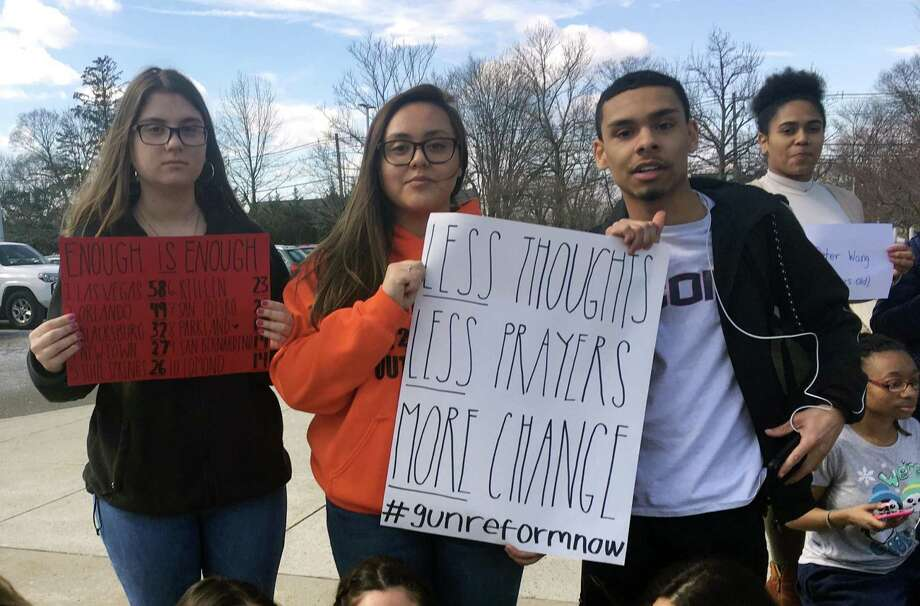 Students at Brien McMahon High School held a 17-minute remembrance ceremony during Wednesday's school walkout against gun violence in Norwalk. Photo: Grace O'Malley / Contributed Photo / Norwalk Hour contributed