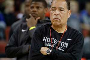 Houston head coach Kelvin Sampson watches practice for an NCAA college basketball first round game Wednesday, March 14, 2018, in Wichita, Kan. (AP Photo/Charlie Riedel)