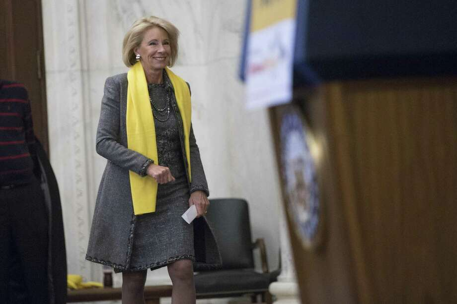 FILE -- Betsy DeVos, the education secretary, at an event celebrating National School Choice Week, on Capitol Hill in Washington, Jan. 18, 2018. In a remarkable admission, DeVos said in a television interview on March 11, that she has not ÒintentionallyÓ visited public schools in Michigan that are struggling and underperforming. (Erin Schaff/The New York Times) Photo: ERIN SCHAFF, STR / NYT / NYTNS