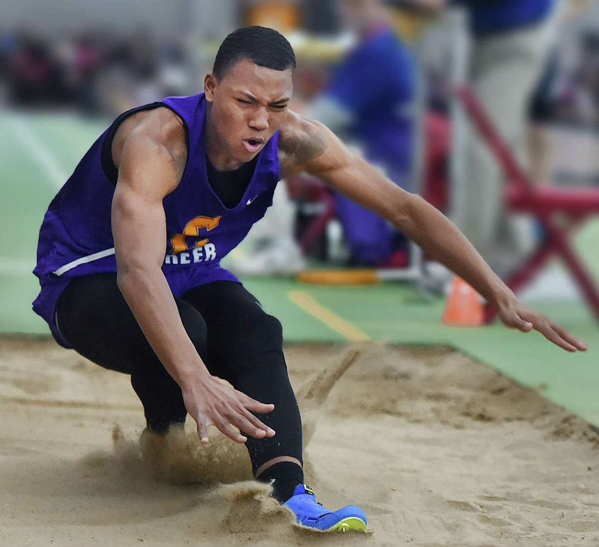 Career senior Dyshon Vaughn wins the long jump with a distance of 23-08 1/2 at the CIAC Boys Indoor Track and Field State Open on Feb. 17 at Floyd Little Athletic Center at Hillhouse High School in New Haven.