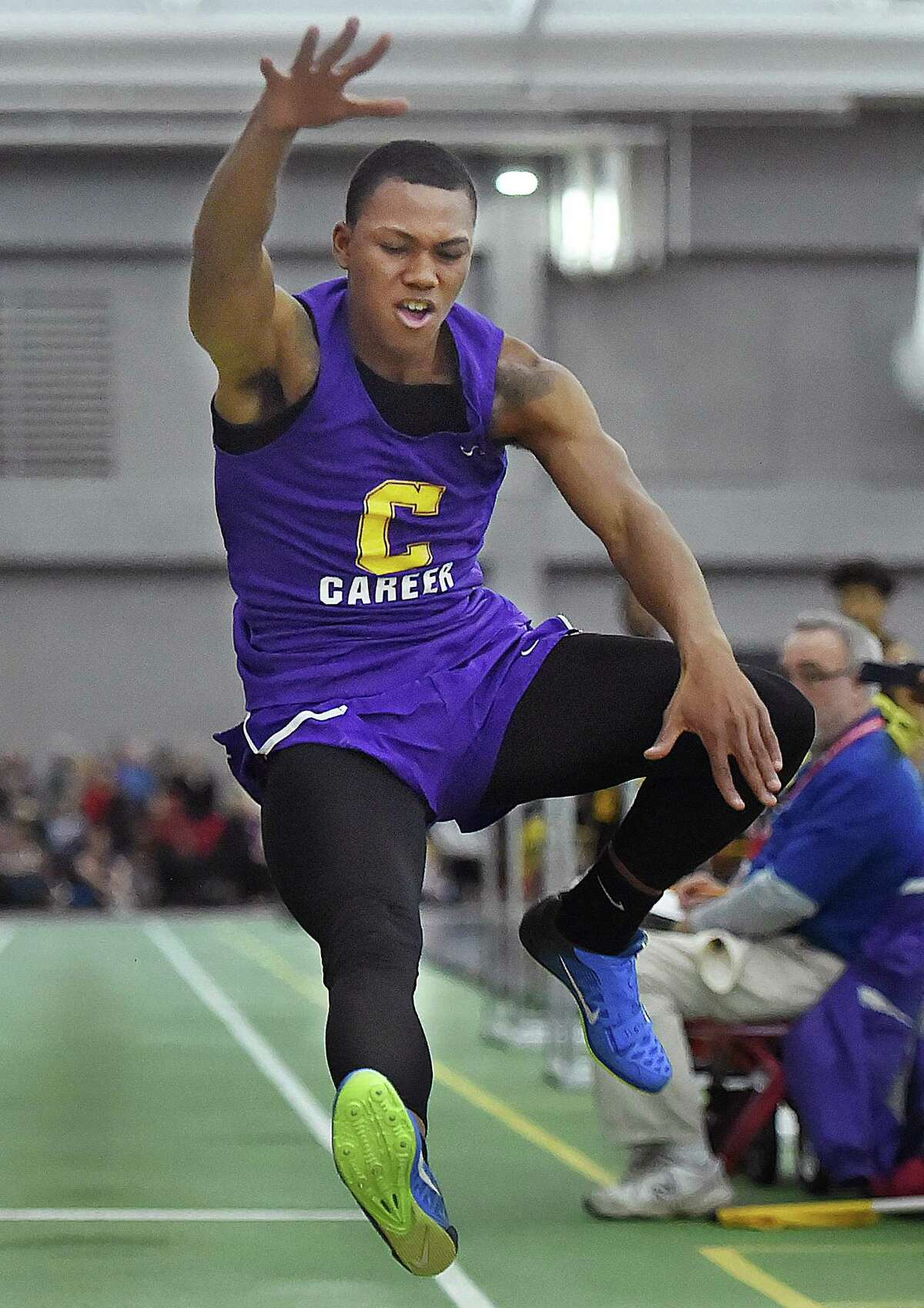 Career senior Dyshon Vaughn wins the long jump with a distance of 23-08 1/2 at the CIAC Boys Indoor Track & Field State Open on Saturday at Floyd Little Athletic Center at Hillhouse High School in New Haven.