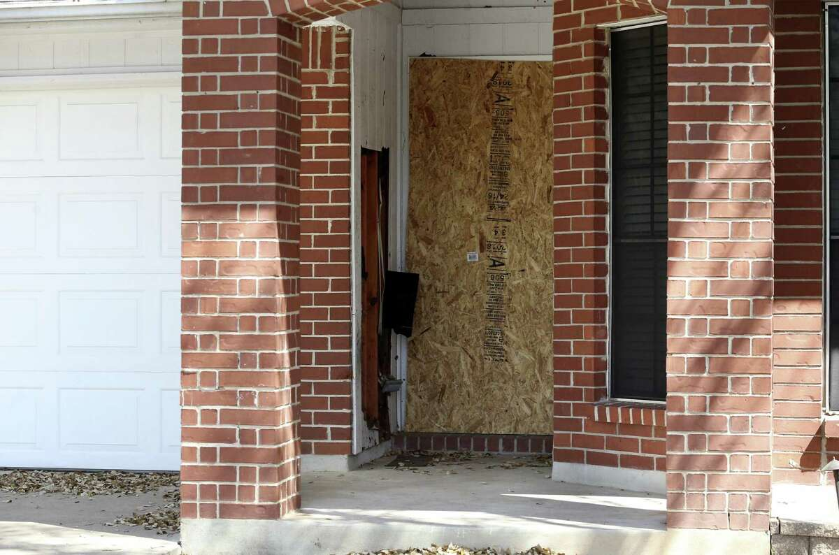 Front entrance damage still is visible at the first bombing site, a residence on the 1100 block of Haverford, in Austin on March 14, 2018. Anthony Stephan House died after the explosion on his front porch around 6:55 a.m. March 2, in the 1100 block of Haverford Drive, which is about 12 miles away from Oldfort Hill Drive neighborhood.