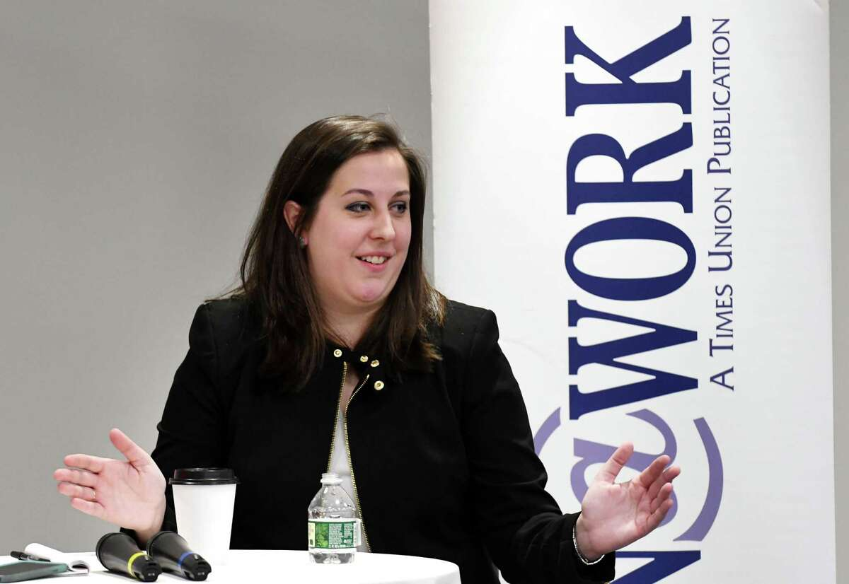 Colleen A. Costello, CEO and cofounder of Vital Vio, now known as Vyv, speaks during a Women@Work Changemakers breakfast event, presented by Bank of America on Wednesday, March 14, 2018, at the Hearst Media Center in Colonie, N.Y. (Will Waldron/Times Union)