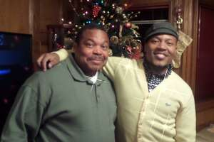 Harry Caligone, Christmas 2013 in LaMarque with his son, Harrison Guy.