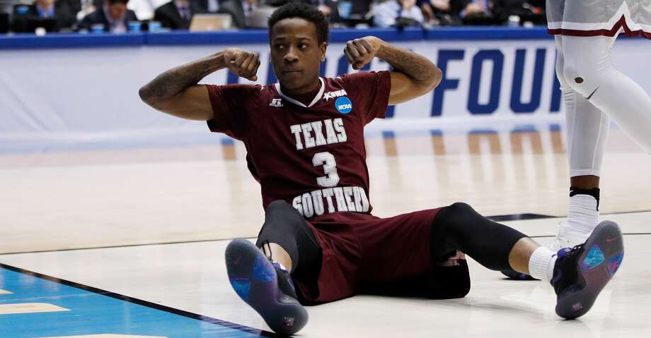 DAYTON, OH - MARCH 14:  Demontrae Jefferson #3 of the Texas Southern Tigers reacts during the first half against the North Carolina Central Eagles during the First Four of the 2018 NCAA Men's Basketball Tournament at UD Arena on March 14, 2018 in Dayton, Ohio.  (Photo by Joe Robbins/Getty Images) Photo: Joe Robbins/Getty Images
