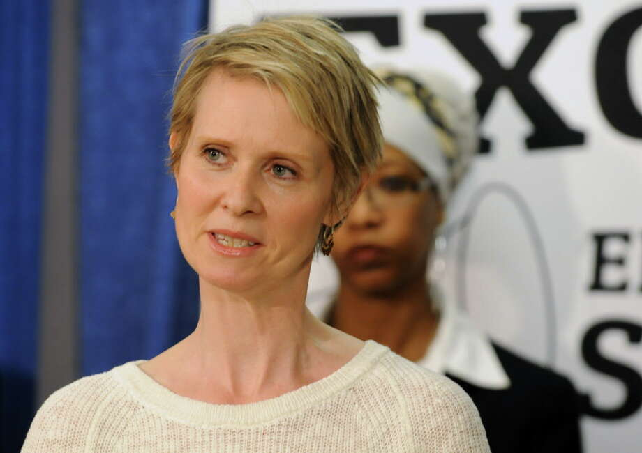 Actress and education advocate Cynthia Nixon speaks during a press conference with school superintendents, academics and other officials to push for more funding for schools Monday, March 24, 2014, at the Legislative Office Building in Albany, N.Y.  (Lori Van Buren / Times Union) Photo: Lori Van Buren / 00026240A