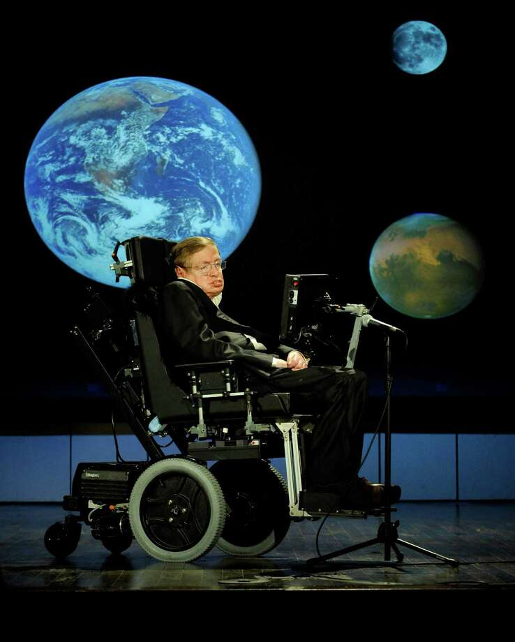 In an image provided by Nasa, Stephen Hawking gives a talk during Nasa's 50th anniversary celebrations at George Washington University, April 21, 2008. Hawking, the physicist and best-selling author whose work exploring gravity and the properties of black holes made him an emblem of human determination and curiosity, died at home in Cambridge, England on March 14, 2018. He was 76. (Paul. E. Alers/Nasa via The New York Times) -- FOR EDITORIAL USE ONLY -- Photo: PAUL E. ALERS / NASA