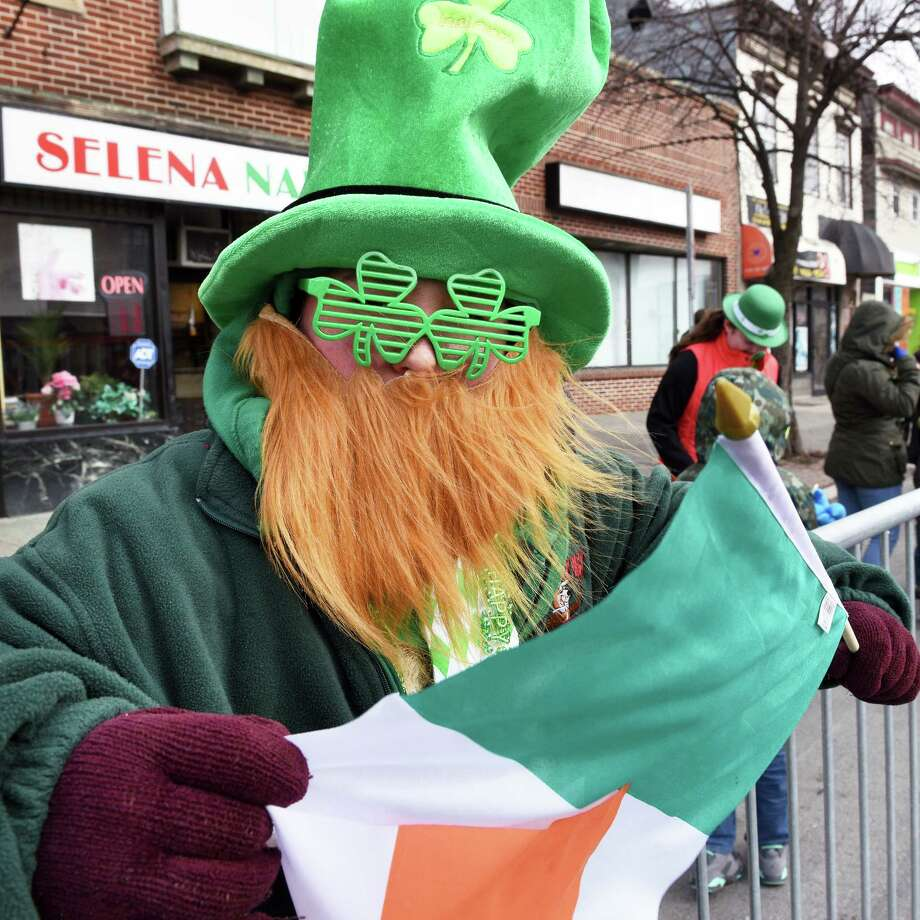 Dressed for the occasion, Ben Nelson, 13, of Colonie watches the 67th annual Albany St. Patrick's Day parade Saturday March 11, 2017 in Albany, NY.  (John Carl D'Annibale / Times Union) Photo: John Carl D'Annibale / 20039895A