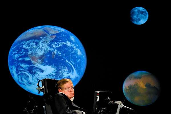 In an image provided by Nasa, Stephen Hawking gives a talk during Nasa�s 50th anniversary celebrations at George Washington University, April 21, 2008. Hawking, the physicist and best-selling author whose work exploring gravity and the properties of black holes made him an emblem of human determination and curiosity, died at home in Cambridge, England on March 14, 2018. He was 76. (Paul. E. Alers/Nasa via The New York Times) -- FOR EDITORIAL USE ONLY --