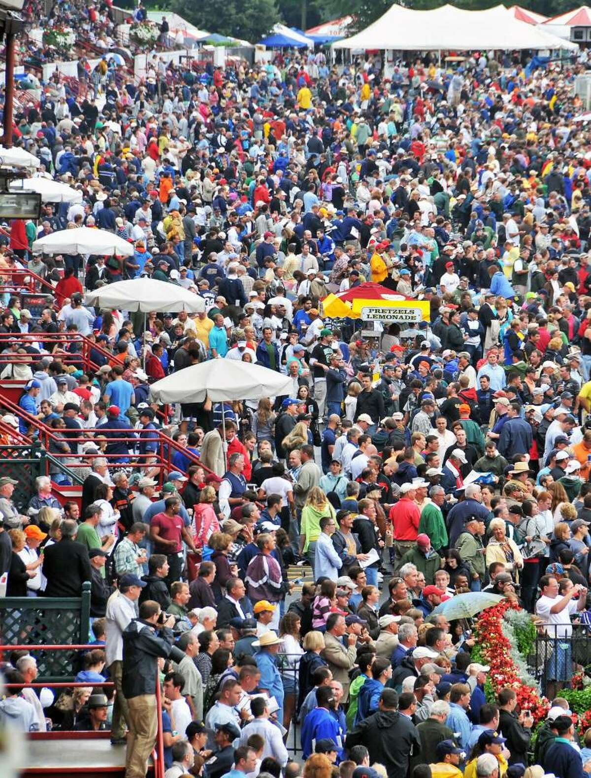 The Travers Day crowd at Saratoga Race Course. (John Carl D'Annibale / Times Union)