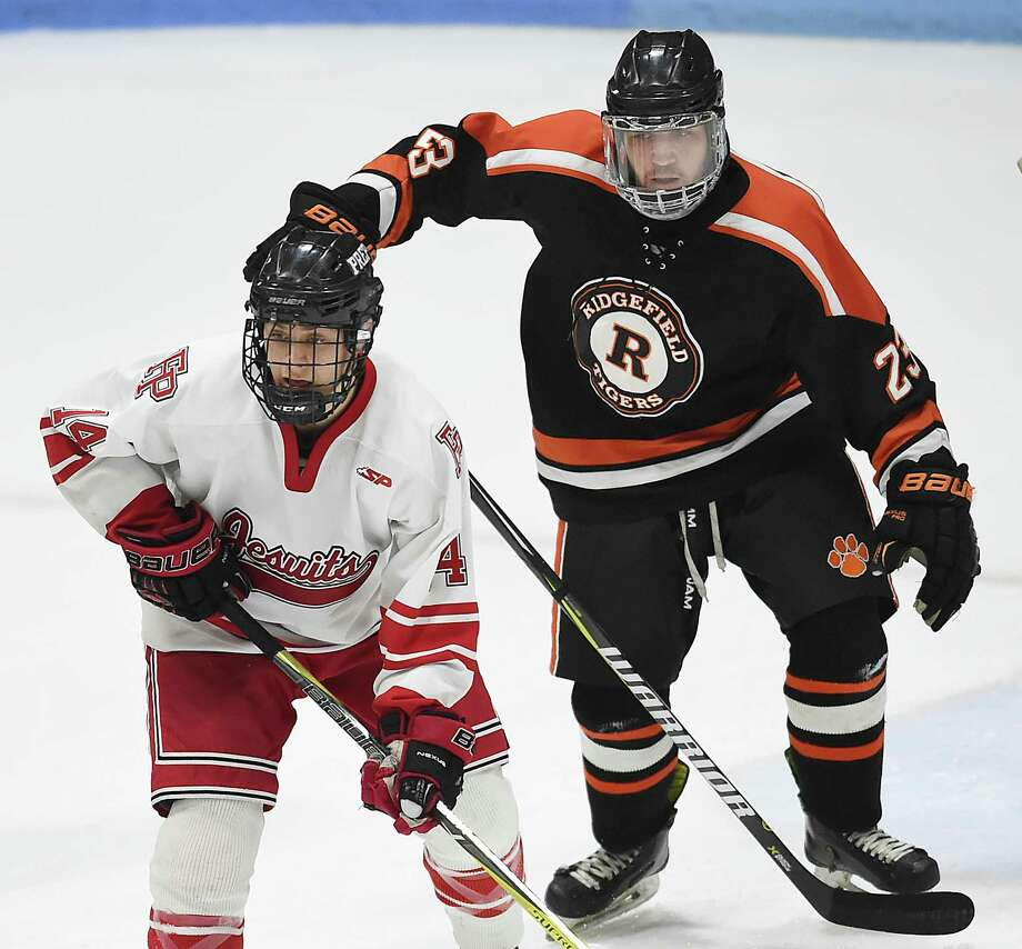 Fairfield Prep defeats Ridgefield, 4-1, in the CIAC Division 1 hockey semifinals, Wednesday, March 14, 2018, at Ingalls Rink in New Haven. Photo: Catherine Avalone, Hearst Connecticut Media / New Haven Register