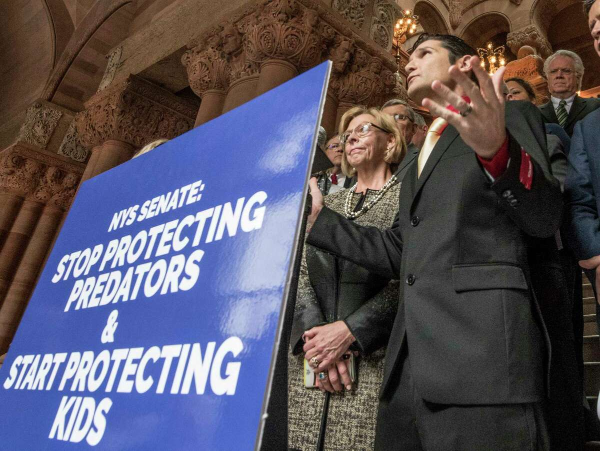 Actor Corey Feldman joins demonstrators representing the New Yorkers Against Hidden Predators to speak out about child abuse at the State Capitol Wednesday March 14, 2018 Albany, N.Y. (Skip Dickstein/Times Union)