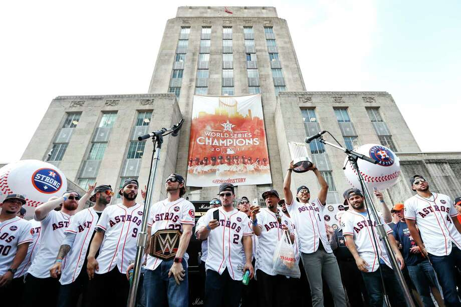 The Houston Astros celebrate their World Series championship celebration during a rally at City Hall on Friday, Nov. 3, 2017, in Houston. ( Brett Coomer / Houston Chronicle ) Photo: Brett Coomer, Staff / © 2017 Houston Chronicle