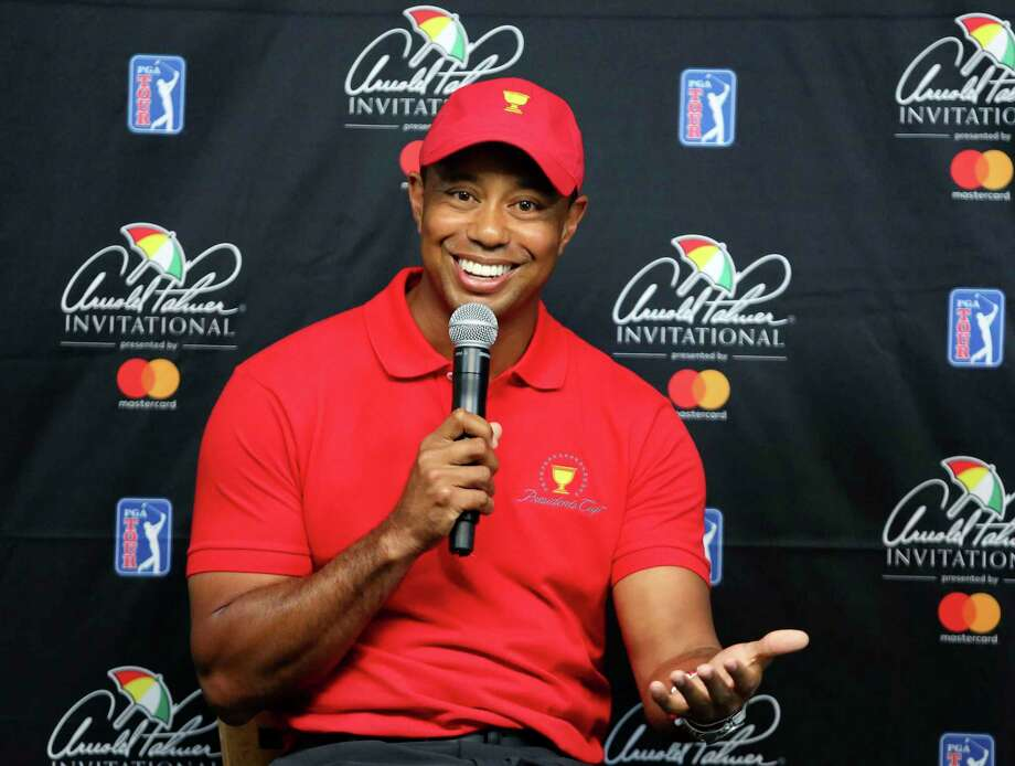Tiger Woods responds to questions during a news conference at the Arnold Palmer Invitational golf tournament at Bay Hill, Tuesday, March 13, 2018, in Orlando, Fla. At Bay Hill, Woods has won eight times and twice ended long victory droughts. (Joe Burbank/Orlando Sentinel via AP) Photo: Joe Burbank / Orlando Sentinel