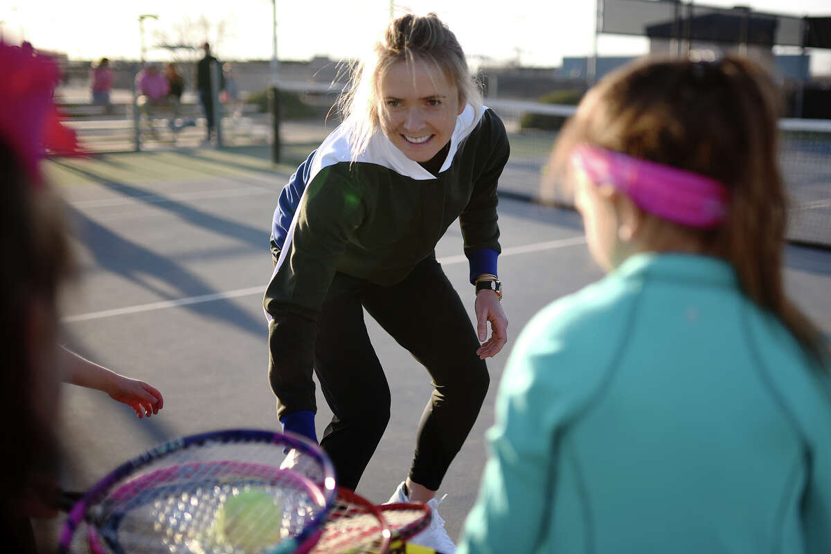 Elina Svitolina, the WTA No. 4-ranked player in the world, particpated in a youth tennis clinic at Bush Tennis Center March 14, 2018. James Durbin/Reporter-Telegram