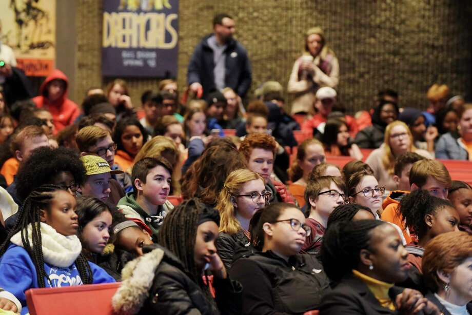 Albany High School students take part in an assembly to talk about gun violence before their walkout in memory of the 17 Parkland shooting victims on Wednesday, March 14, 2018, in Albany, N.Y. (Paul Buckowski/Times Union) Photo: PAUL BUCKOWSKI / (Paul Buckowski/Times Union)
