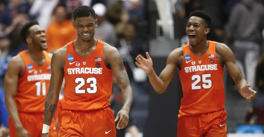 Syracuse's Frank Howard (23) celebrates after drawing a foul in the final seconds against Arizona State in a First Four game of the NCAA men's college basketball tournament Wednesday, March 14, 2018, in Dayton, Ohio. Syracuse won 60-56. (AP Photo/John Minchillo) Photo: John Minchillo/Associated Press