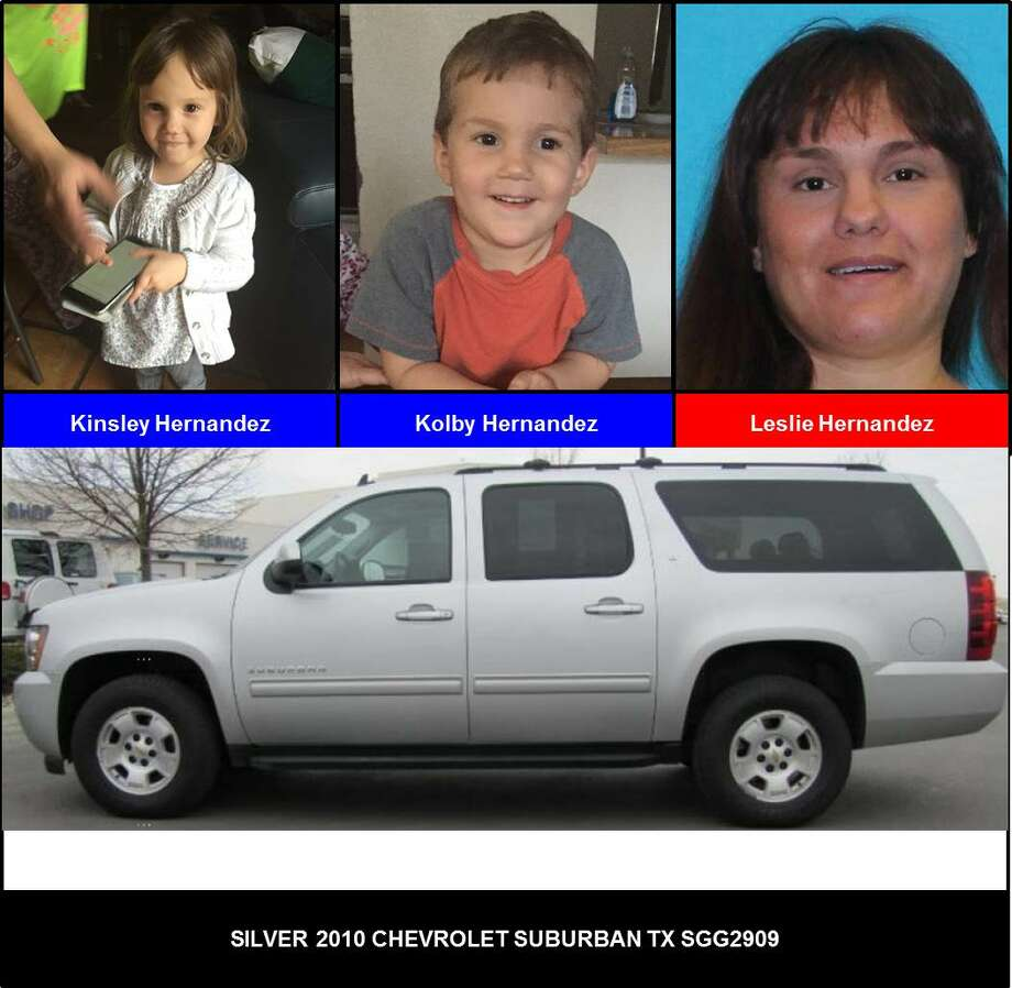Leslie Hernandez, 38, is a suspect in the San Antonio abduction of three-year-olds Kinsley Hernandez and Kolby Hernandez. She is driving a silver Chevrolet with Texas license plate number JGG2909.
