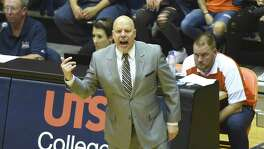 UTSA basketball coach Steve Henson encourages his team during second-half CollegeInsider.com tournament action against Lamar in the UTSA Convocation Center on Wednesday, March 14, 2018.