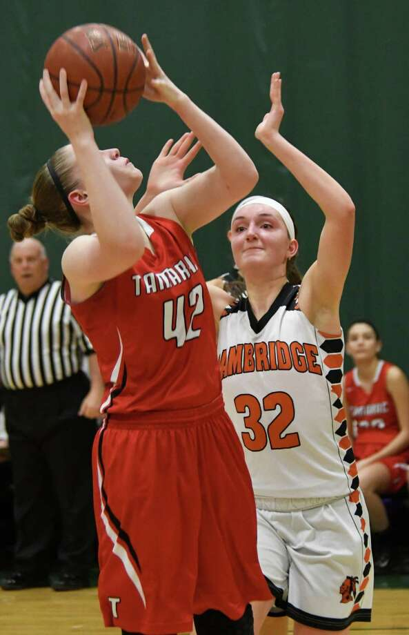 Tamarac's Tina Ray lines up for a shot as Cambridge's Helen Mooney defends the hoop during the Wasaren League game at Skidmore College in Saratoga Springs, N.Y. on Saturday, Feb. 11, 2018. (Jenn March/Special to the Times Union) Photo: Jenn March / © Jenn March 2017-18 © Albany Times Union