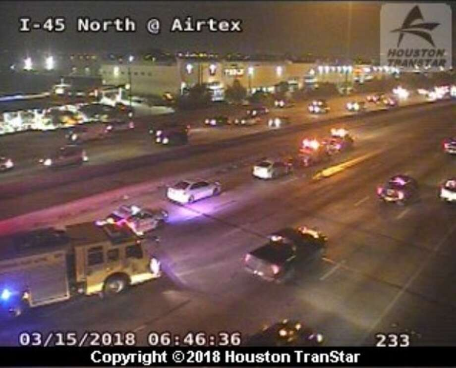 A wreck about 6:45 a.m. Thursday, March 15, 2018, caused problems for motorists on southbound Interstate 45 at Rankin, according to Houston TranStar. Photo: Houston TranStar