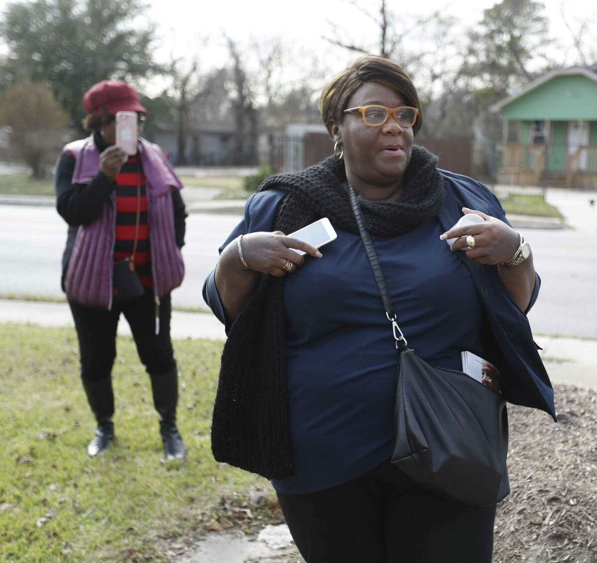 Tanya Debose, executive director of the Independence Heights Redevelopment Council, speaks during a tour of Independence Heights, north of 610, on Jan. 5, 2018, in Houston. The historic neighborhood, the remnants of the first city in Texas incorporated by black residents, could lose homes and businesses under a plan to widen Interstate 45.