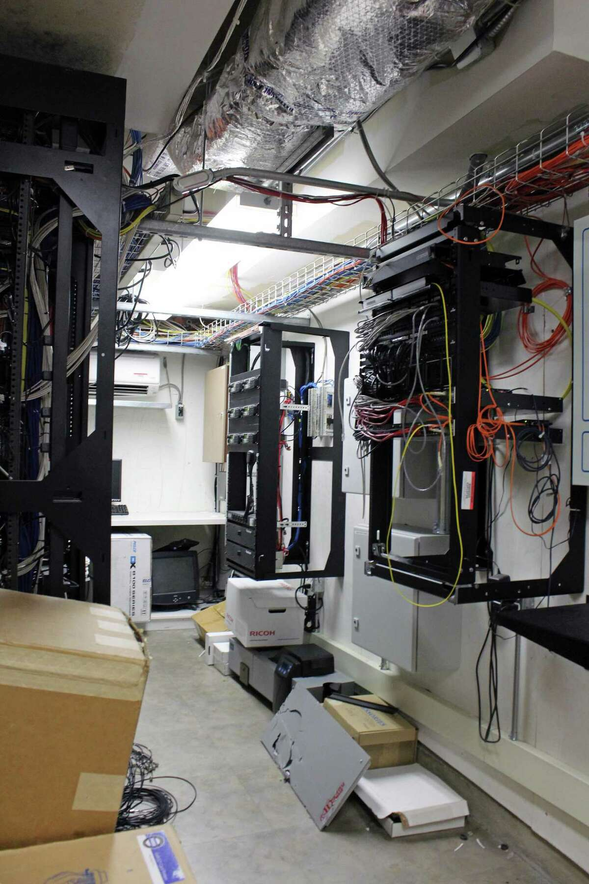 Much of the needed wiring and infrastructure that would be used by a combined Fairfield-Westport emergency dispatch center already exists on the former General Electric corporate headquarters. The property is now owned by Sacred Heart University. Fairfield,CT. 3/14/18