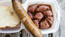 Smoked boudin & Beaumont-style beef links at Byron's Gourmet Bar-B-Q Byron's Gourmet Bar-B-Q. ( J.C. Reid / Houston Chronicle )