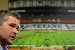 Houston Texans general manager Brian Gaine answers questions during his introductory news conference at NRG Stadium on Wednesday, Jan. 17, 2018, in Houston. Gaine is the Texans third general manger in team history. ( Brett Coomer / Houston Chronicle )
