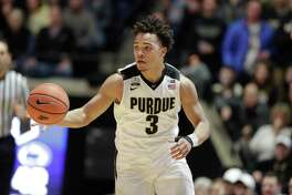 Purdue guard Carsen Edwards (3) brings the ball up court in the second half of an NCAA college basketball game against Penn State in West Lafayette, Ind., Sunday, Feb. 18, 2018. Purdue defeated Penn State 76-73. (AP Photo/Michael Conroy)